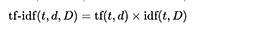 Формула расчета TF-IDF